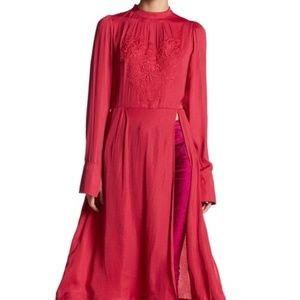 Free People Mock Neck Embroider Long Sleeve Dress